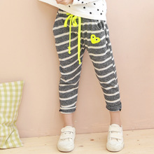 Retail 2016 new spring girls casual striped cotton harem pants children kids hot sale loose trousers capris bottom clothes 159P(China (Mainland))