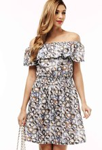 2016 fashion new Spring summer plus size women clothing floral print pattern casual dresses vestidos WC0472(China (Mainland))