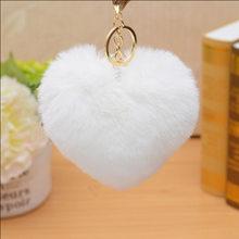 Baixo preço de venda quente da forma do coração chaveiros de pelúcia brinquedos de pelúcia pequeno pingente Mulheres Fofo Pom Pom Pele Saco Chaveiro Pendurar(China)