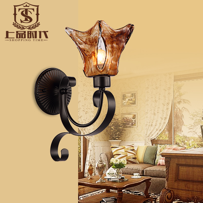 Wholesale American style iron wall sconce light with glass WL060<br><br>Aliexpress