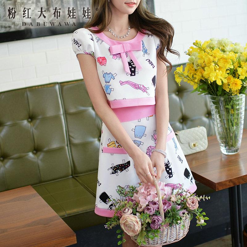 Summer skirt skirt Pink Doll 2015 new female skirt edge printing a word skirt