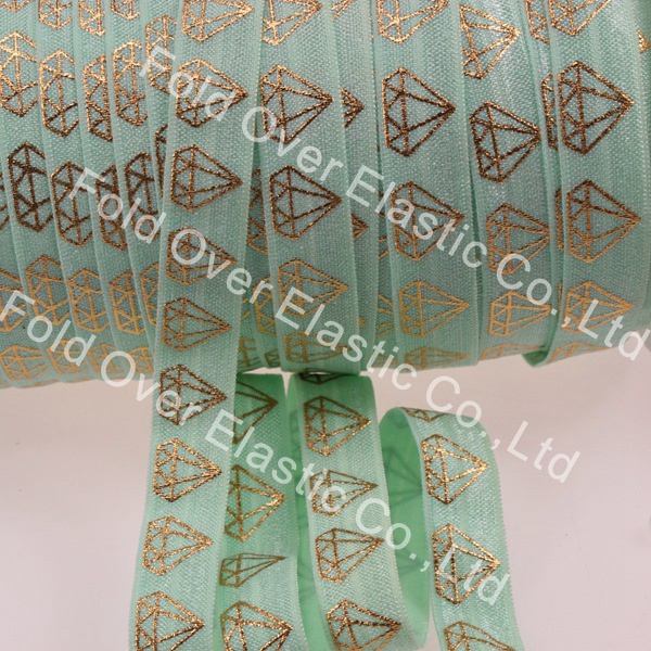 """hot sale 5/8"""" #513-pastel green fold over elastic for hair accessories, gold foil diamond printed elastic foe, 100yards/roll(China (Mainland))"""