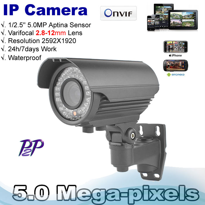 High Resolution 48pcs IR Leds 2.8-12mm Varifocal lens5.0 MP high resolution 1920p real time H.264 video IP Zoom Camera(China (Mainland))