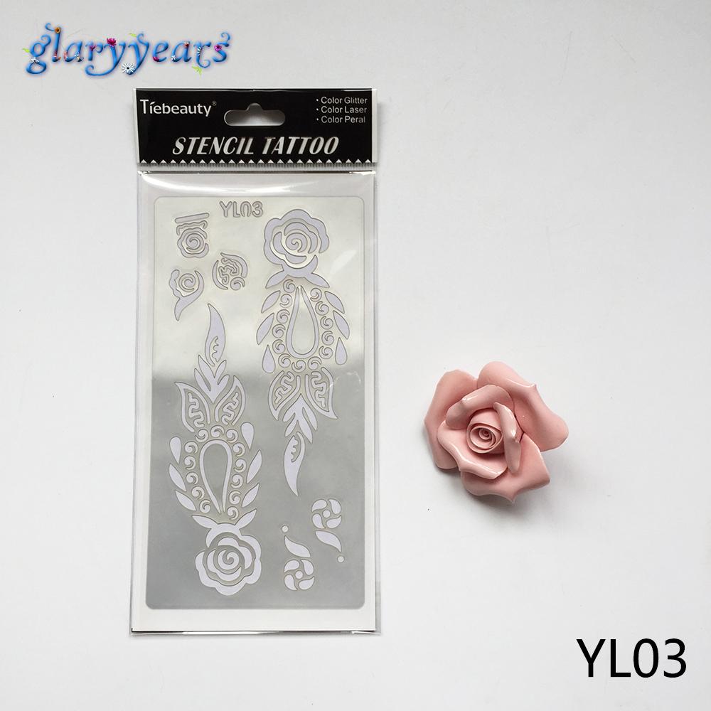 1 Sheet Professional Flower Tatoo Template Henna Body Art Tattoo Stencil YL03 Mehndi Sexy Women Men Body Painting Tattoo Sticker
