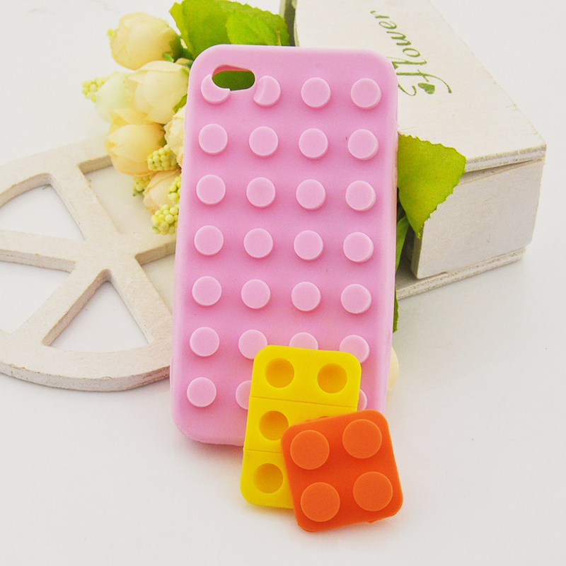 3pcs/lot Silicone Rubber Soft Brick Phone Back Case Cover for Apple iPhone 4 4G 4S(China (Mainland))