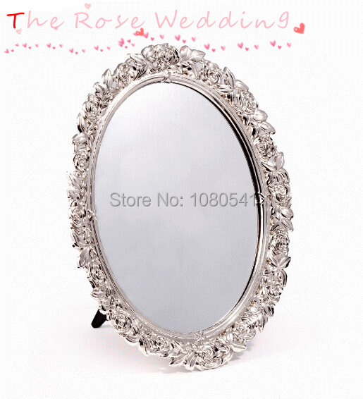 Rose metal mirror fruit tray zinc alloy oval fruit dish for Mirror in a can