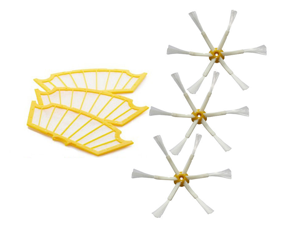 Free Post NEW 3 pack Filters+ Side Brush 6 Arms for iRobot Roomba 500 Series 530 550 560 570(China (Mainland))