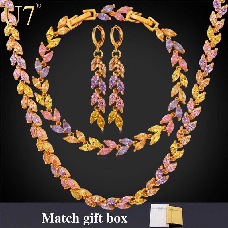 Zircon Necklace Set 2015 Trendy Platinum/18K Gold Plated Zirconia Necklace Earrings Bracelet Wedding Jewelry Set For Women S581(China (Mainland))