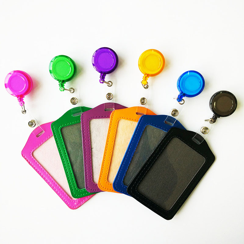 Cheap Bank Credit Card Holders PU Card Bus ID Holders Identity Badge with Retractable Reel wholesale(China (Mainland))