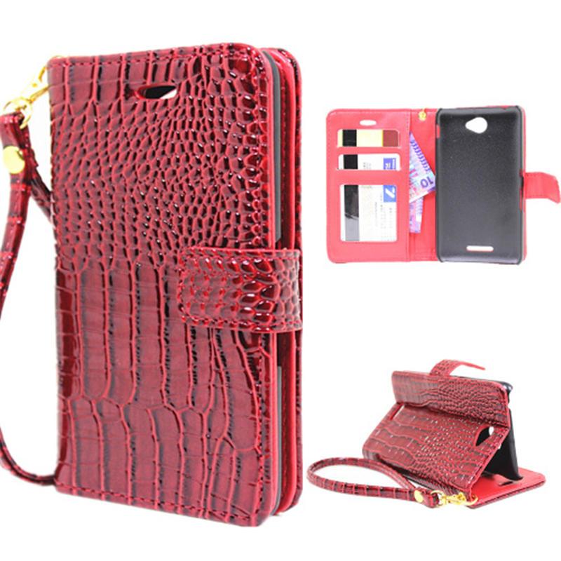 5 Colors Luxury Wallet Case Sony Xperia E4 Pouch Crocodile Leather Flip Cover Xperia E4 E2003 phone Bags Hand Strap