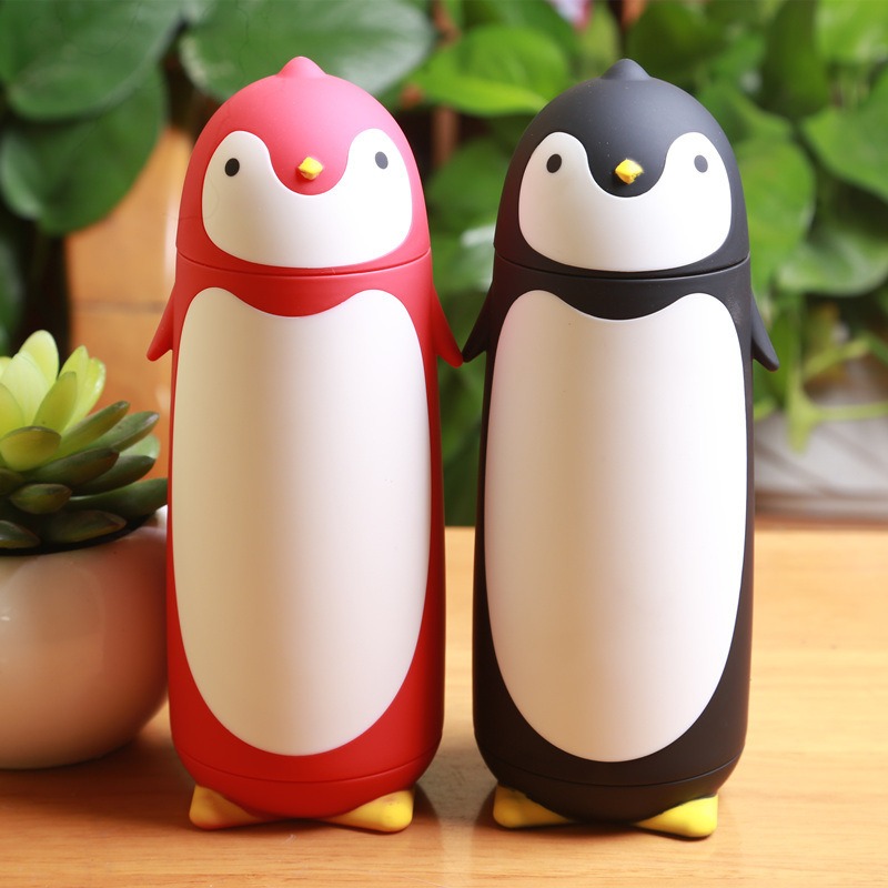 4 colors cute Sweet gift cup children water bottle Penguin stainless steel thermos cup Termos Vacuum Flasks(China (Mainland))