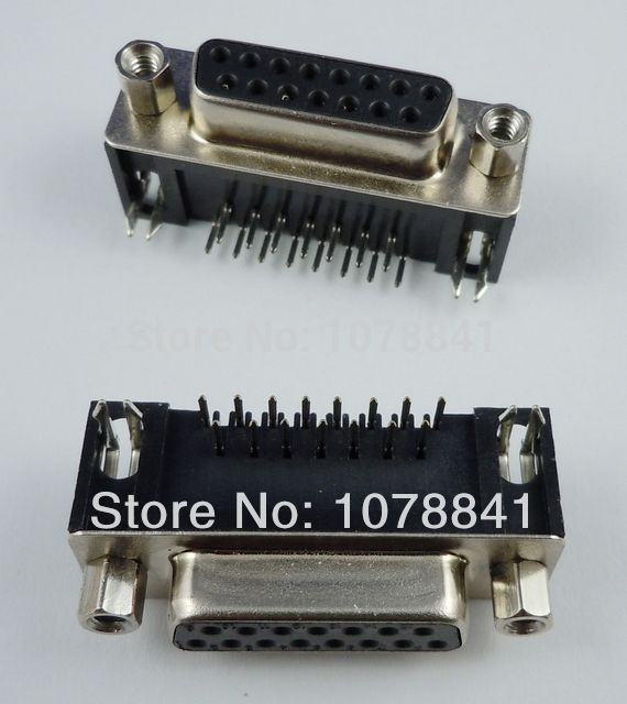 50 Pcs Per Lot D-SUB Right Angle 15 Pin Female PCB Connector 2 Rows DB15F от Aliexpress INT