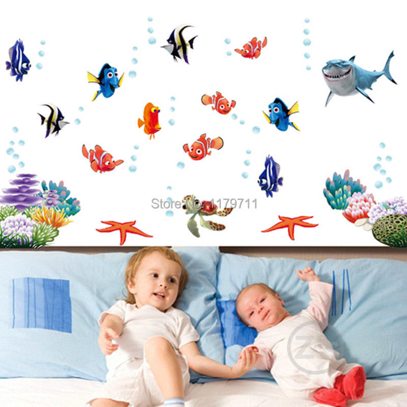 nemo fish cartoon wall sticker for shower tile stickers in the bathroom for children kids baby on bath AY617(China (Mainland))
