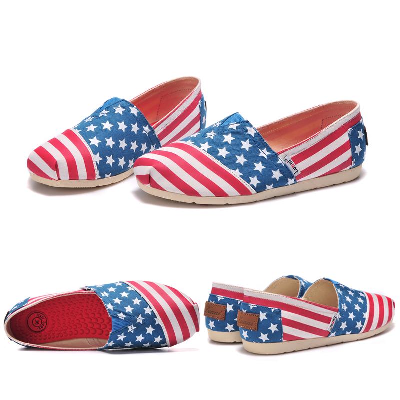 Ee.uu. Slip on pisos mujeres / jóvenes bandera americana informal de lona de