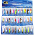 Free shipping Lot 30pcs Spinner Spoon Metal Lure Iscas Artificial Bait Fishing Lure Kit Spinner Bait