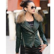 women basic coats 2016 fashion natural raccoon fur collar winter leather jacket and Autumn coat women motorcycle leather coat(China (Mainland))