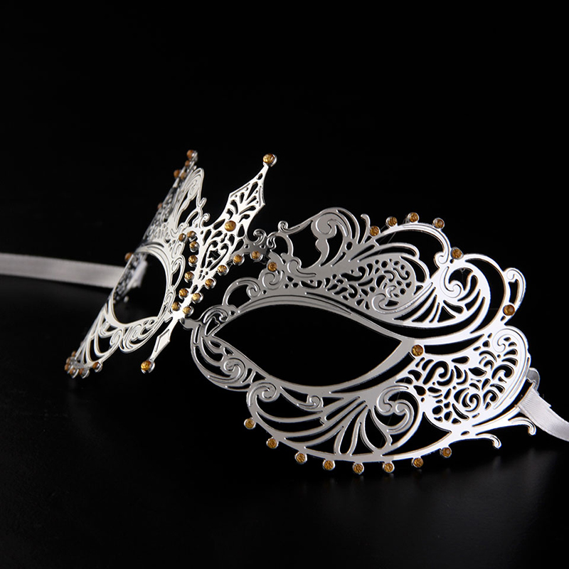 Hot Sell New unique Design silver Venetian environmental Metal Mask Woman/lady Halloween Masquerade Filigree Mask MA001-GDSL(China (Mainland))