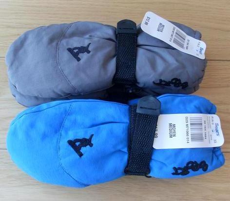 Child baby thickening thermal ski gloves lengthen wrist support thermal - grey blue 2