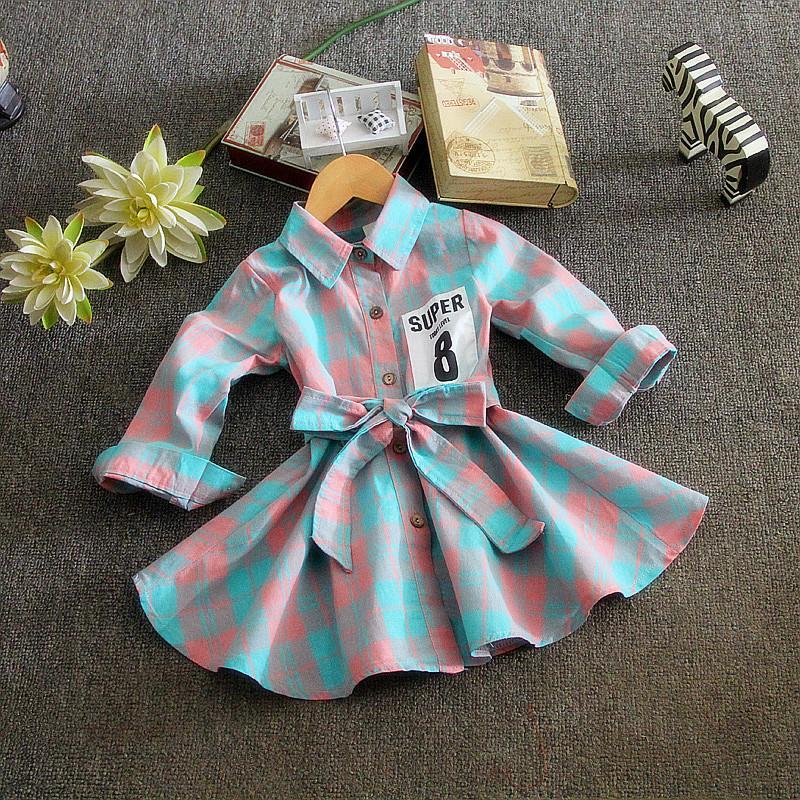 fashion 2016 spring autumn font b plaid b font baby girls dress long sleeve cotton kids