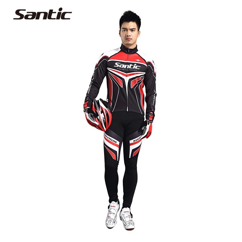 SANTIC Winter Fleece Thermal Racing Team Professional 4D Pad Long Bicycle Suits Cycling Clothing Bike Sets Red Color Style(China (Mainland))