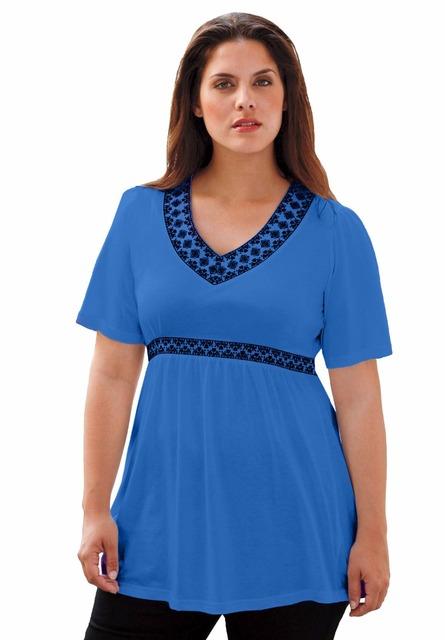 Xl-10xl Большой размер женщины вышивка блузка 100% хлопок туника верхней части рубашки ...