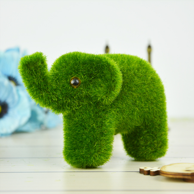 12.5cm*9cm Free Shipping Small Cute Animal Design Decorations Artificial Moss Stones Simulation Grass Elephants(China (Mainland))