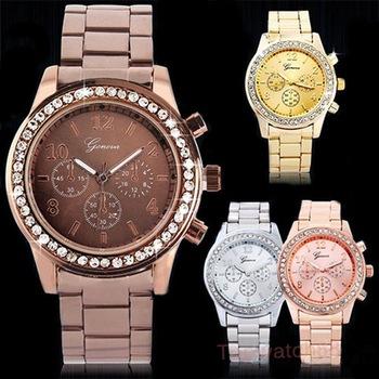 4 цветов женщины одеваются часы из нержавеющей стали наручные часы, роскошные серебряные ...