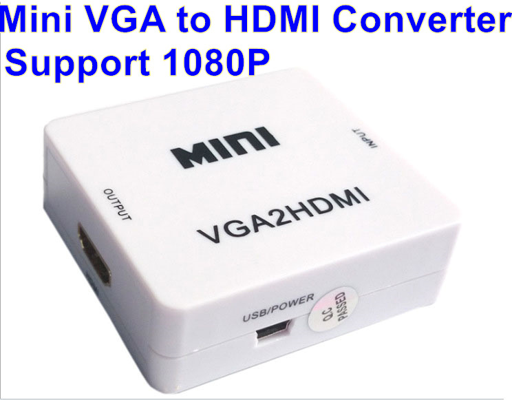MINI 1080P VGA to HDMI Adapter VGA2HDMI Converter Connector With Audio for PC Laptop for PS3,XBO,X360 to HDTV Projector(China (Mainland))