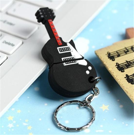 Wholesale musical instrument black guitar USB 2.0 flash drive thumb memory stick pen drive u disk Real capacity 1GB-64GB S16(China (Mainland))