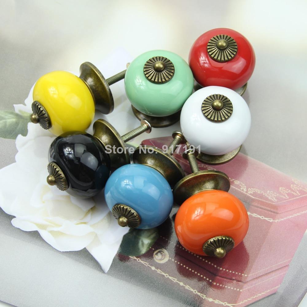 1pc Retro Gold Ceramic Handle Pull Knobs Cabinet Door Cupboard Drawer Locker Vintage-PY(China (Mainland))