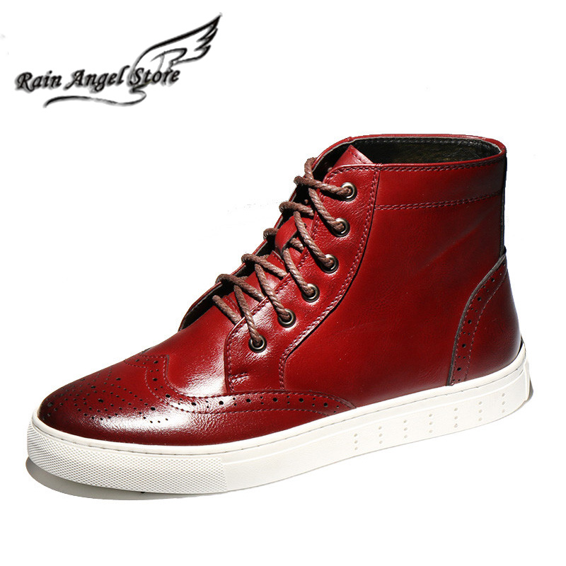 Mens Shoes Genuine Leather Boots British Men Boots High Tops Breathable Tooling Boots Korean Male Boots Bota Masculino