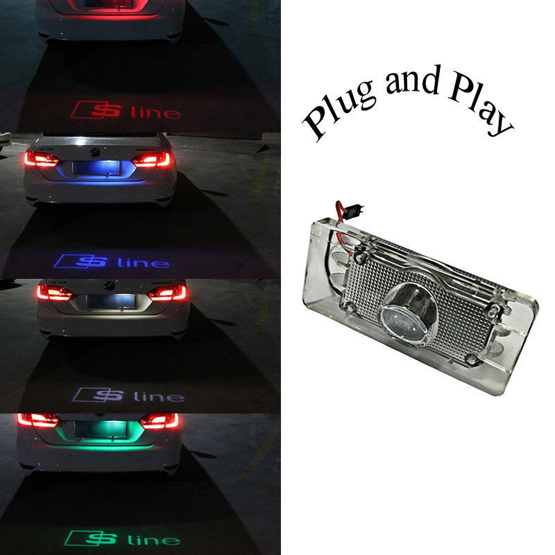 1 x LED Car License Plate Lights Shadow led Projector Logo FOR AUDI A3 A4 A5 A6 A7 Q3 Q5 TT S5 S6 S7(China (Mainland))