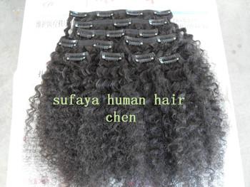 Странный вьющиеся волосы клипы в продукт / черный цвет вьющиеся волосы утка мода продукт