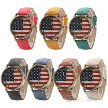 Unisex women men Vintage United States Flag Bronze Denim Band Quartz Analog Wrist Watch  2KDK