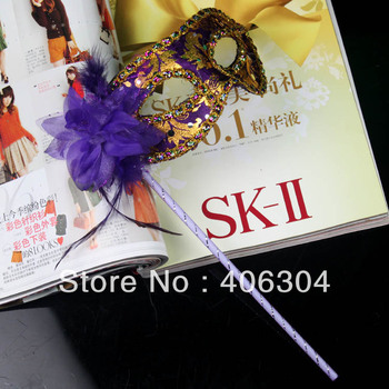 Free shipping ,masquerade masks on a stick ,party venetian mask with side flower ,