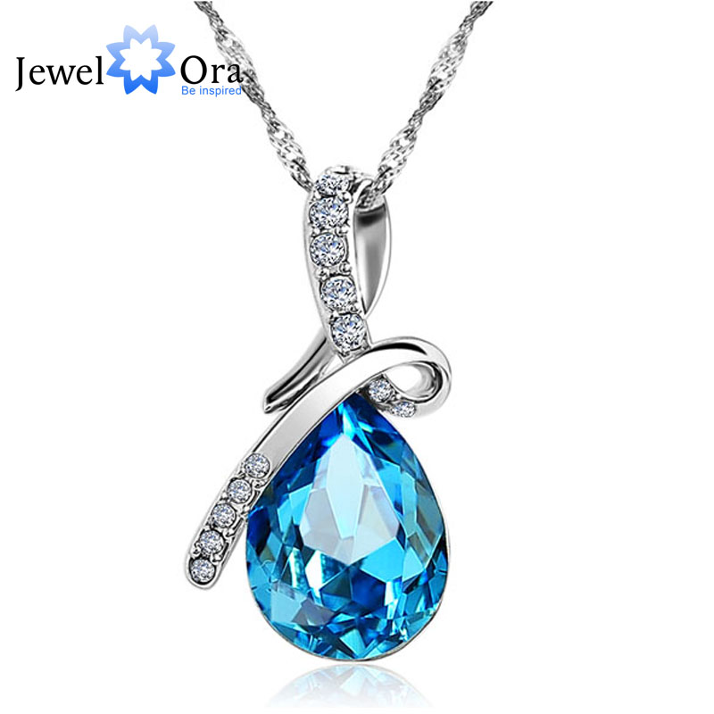 Fashion Blue Crystal Water Drop Pendant Necklace Rhodium Plated Zircon Necklaces & Pendants For Women (Jewelora NE100982)(China (Mainland))