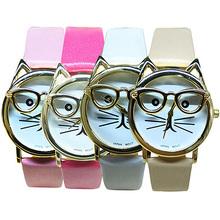 Women s Men s Cute Glasses Cat Case Faux Leather Analog Quartz Bracelet Wrist Watch 5Q8G