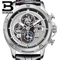 Switzerland watches men luxury brand Wristwatches BINGER Quartz watch leather strap Chronograph Diver glowwatch B6009 3