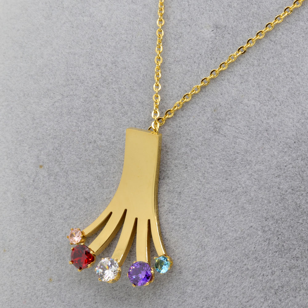 Women Jewelry Brand 18K Gold Plated Palm Shape Cubic Zirconia Pendant Necklace Stainless Steel Necklace Chain Jewelry Wholesale