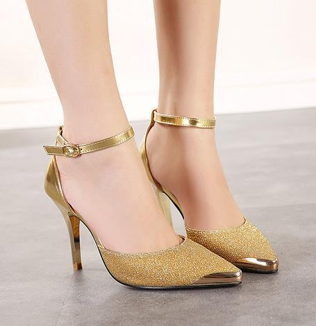 style ankle metal pointed toe color match