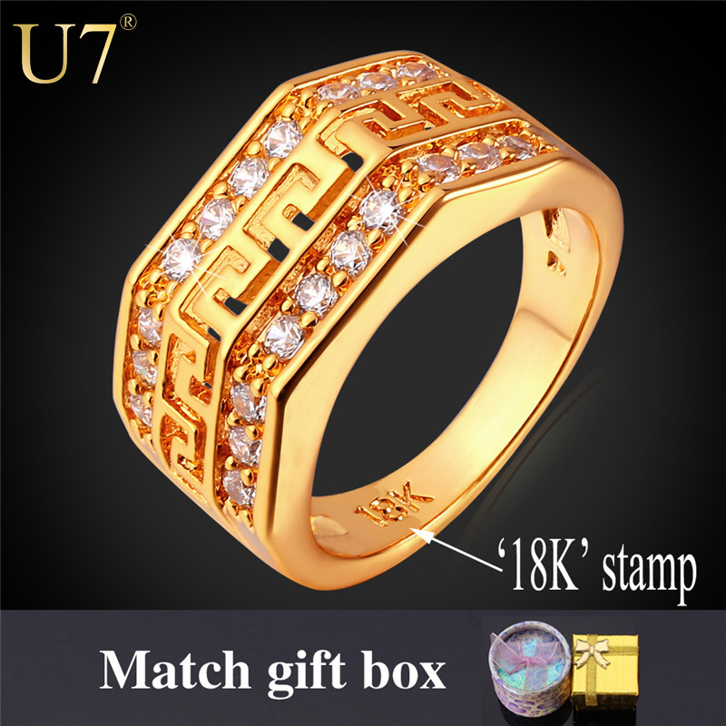 U7 Gold Crystal Ring Men Jewelry Vintage Wholesale 18K Real Gold Plated Trendy Party G Letter Luxury Cubic Zirconia Ring R380(China (Mainland))