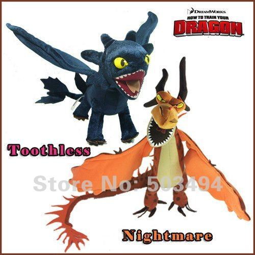 2X How to Train Your Dragon Toothless Night Fury  Firedragon nightmare Plush Toy Stuffed Teddy Dolls