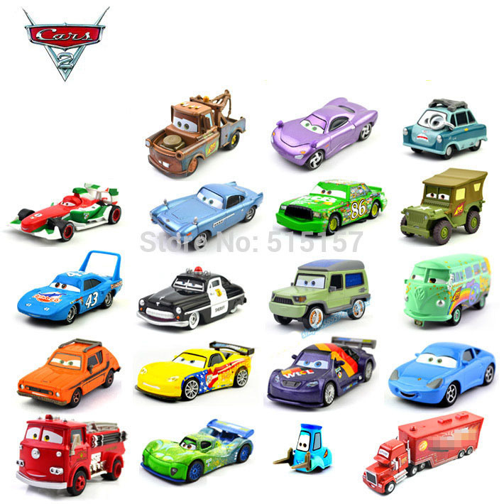 100% original toy cars pixar set diecast metal 1:55 kids toys Chick Hicks rod king mater police car sheriff(China (Mainland))