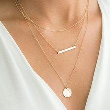 EManco cadeias em camadas longo colar de mulheres cor de ouro elo da cadeia colar de pingente gargantilha colar para mulheres moda jewlery(China)