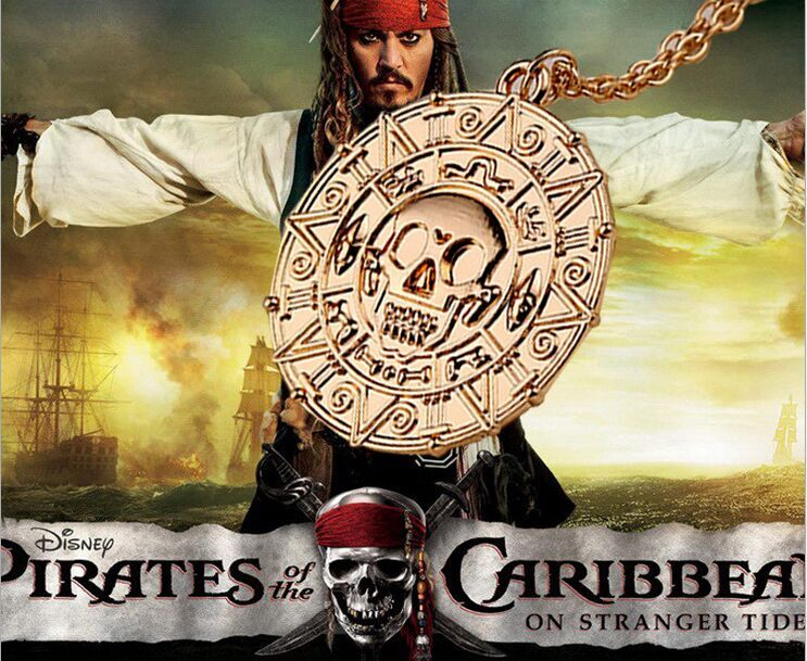 wholesale 40 Antique Bronze film Pirates of the Caribbean Maya Totem mark Aztec Gold Coin Skull pendant necklace unisex eBay Hot<br><br>Aliexpress