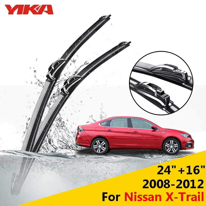 "YIKA 24""+16"" For Nissan X-Trail (From 2008-2012) Wiper Blades Janitors For Cars U-type Glass Rubber Windshield wipers ISO9001(China (Mainland))"