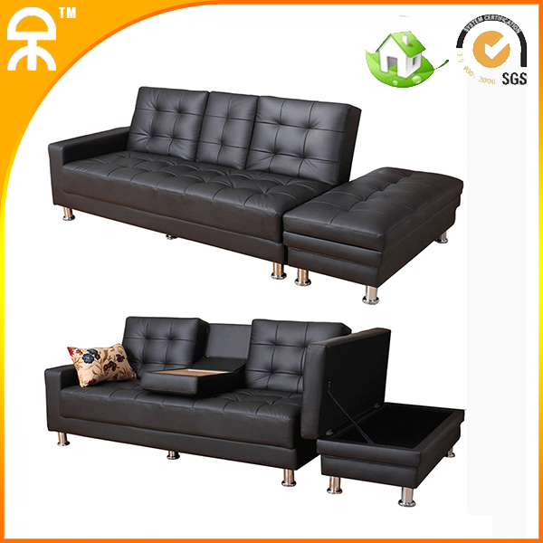 Factory Direct modern PU brown sofa bed with tea table and storage#GH063(China (Mainland))