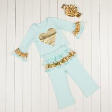 Girls Boutique clothing ,Ruffle Girls Clothing Set ,Aqua Gold metallic Baby Girls set ,Ruffle back pants for toddler(China (Mainland))