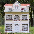 DIY Wooden Handcraft Dolls house Miniatures Dollhouse 3D Handmade Large Villa English instruction Furniture X mas