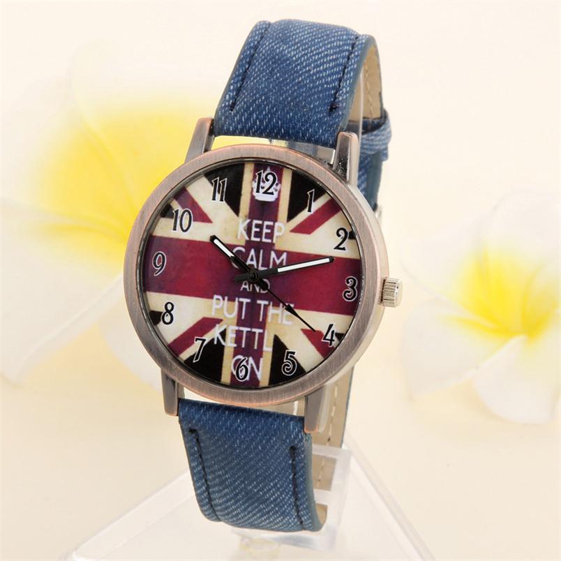 Novel design Luxury Round Unisex Casual Quartz Analog Sports Denim Fabric UK Flag Wrist Watches Gifts Relogios(China (Mainland))
